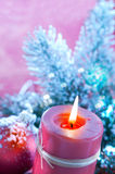 Lighting Christmas candles Royalty Free Stock Images
