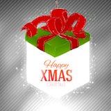 Lighting christmas gift box at neutral grey Stock Photography