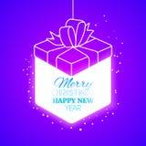 Lighting christmas gift box at purple backdrop Stock Photos