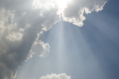 Lighting from cloud sky. It is jesus light royalty free stock photography