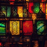 lighting with colors on muslim style's lantern stock image