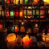 lighting with colors on muslim style's lantern royalty free stock images