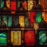 lighting with colors on muslim style's lantern royalty free stock photography