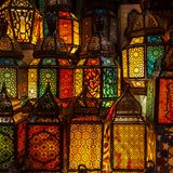 lighting with colors on muslim style's lantern stock photography