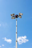 Lighting Column Spotlights Against Blue Sky Royalty Free Stock Photos
