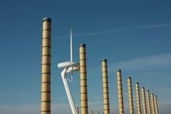 Lighting columns and Montjuïc tower Stock Image
