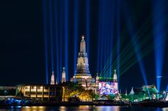 Lighting countdown 2016 Arun temple in Thailand. Thailand countdown 2016 lighting show at Wat Arun Temple Bangkok Royalty Free Stock Photography