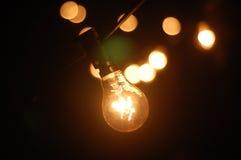 Lighting decor. Retro light bulb filament close up.Illuminated. Stock Image