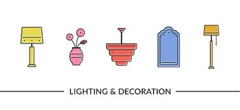 Lighting and decoration furniture line icons clip art. Lighting and decoration furniture line icons for web and print Royalty Free Stock Photography