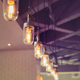 Lighting decoration in restaurant Royalty Free Stock Photos