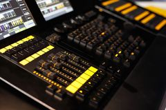 Lighting desk. Closeup of lighting desk used in lighting design to control stage lights. Selective focus Stock Photo