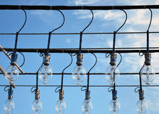 Lighting devices of a fishing schooner. Stock Photos