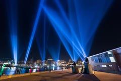 Lighting display Hobart. Hobart, Australia-June 12, 2014. Electronic artist Rafael Lozano-Hemmers stunning interactive installation Articulated Intersect Royalty Free Stock Photos