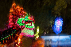 Lighting Dragons in Chinese new year. Royalty Free Stock Photo