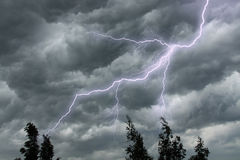 The lighting in dramatic stormy sky Stock Images