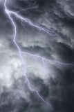 The lighting in dramatic stormy sky. The lighting in dark stormy clouds stock photos