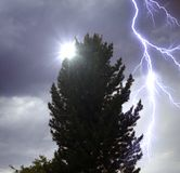 The lighting in dramatic stormy sky Royalty Free Stock Photo