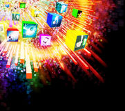 Lighting effects with 3D cube screen Stock Image