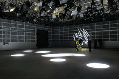 Lighting effects of TV studio. New television studio with lighting devices Royalty Free Stock Photography