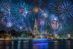 Lighting effects at Wat Arun Temple in the night, Bangkok, Thail Royalty Free Stock Photo