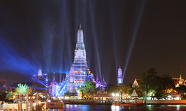 Lighting effects at Wat Arun Temple in the night Stock Photography