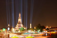 Lighting effects at Wat Arun Temple Royalty Free Stock Photography