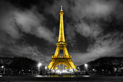 Lighting the Eiffel Tower, paris, france. Royalty Free Stock Image