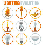 Lighting elements icon set. Evolution of light Royalty Free Stock Images