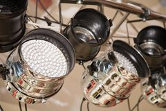 Lighting equipment. The lighting equipment of a stage for bright light show stock photography