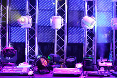 Lighting equipment and controls for clubs and concert halls Stock Images