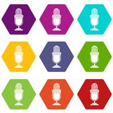 Lighting equipment icon set color hexahedron Royalty Free Stock Image