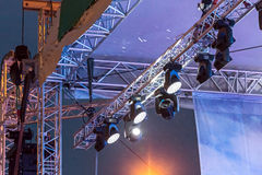Lighting equipment of outdoor concert stage Stock Image