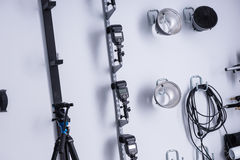 Lighting equipment in a photographic studio Royalty Free Stock Images