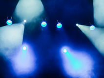 Lighting equipment on the stage. The spotlight through the smoke. Theater performance.  Stock Image