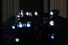 Lighting equipment in the theater. Spotlights and light sources stock photos