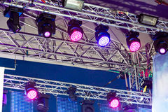 Lighting equipment under roof of stage Stock Photography