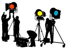 Lighting equipment workers Royalty Free Stock Photography