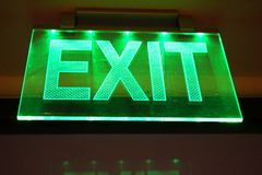 Lighting exit sign Stock Photo