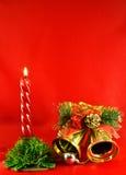lighting för klirr för klockastearinljusjul guld- Royaltyfria Foton