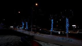Trees decorated with falling led lights along a road stock video footage