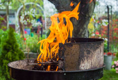 Lighting fire during spring barbecue garden Royalty Free Stock Photo