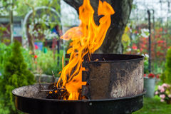 Lighting fire during spring barbecue garden Stock Image
