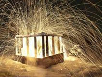 Lighting and fireworks inside stock image