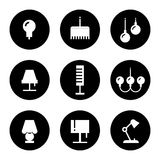 Lighting flat icons - lamps, sconce and floor lamps Royalty Free Stock Photos