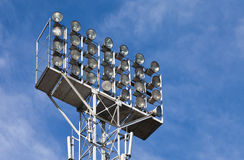 Lighting floodlights at the stadium Stock Photography