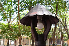 Lighting in the garden made of wooden. Stock Photo
