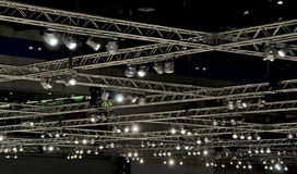 Lighting at a hall ceiling. Consisting of an alloy carrier system and floodlights royalty free stock image