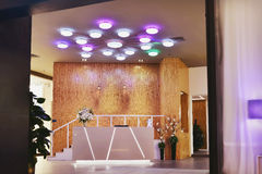 Lighting in the hall. Led ceiling lighting in hall at night royalty free stock photography