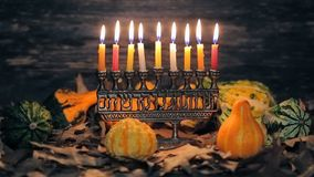 Lighting Hanukkah Candles Hanukkah celebration. Judaism menorah tradition stock video footage