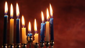 Lighting Hanukkah Candles Hanukkah celebration. Jewish holiday hannukah symbols Lighting Hanukkah Candles Hanukkah celebration judaism menorah tradition stock video